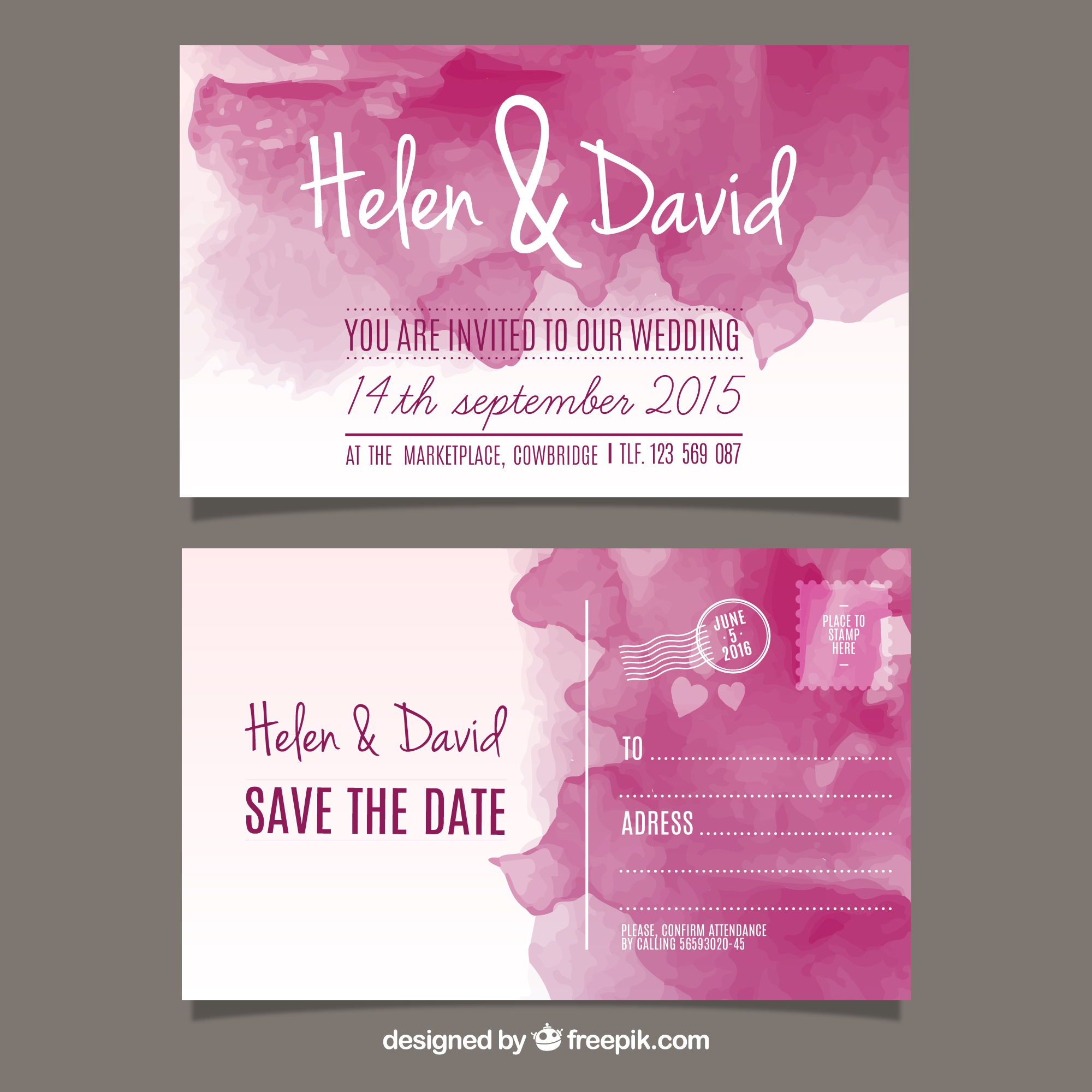 Watercolor wedding invitation in post card style