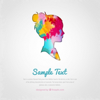 Watercolor woman silhouette background