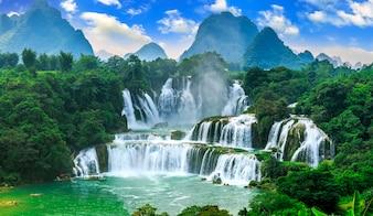 Waterfall clean tourist blue flow asian