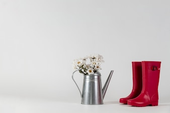 赤い水のブーツのペアの隣の花で缶をじょうろ