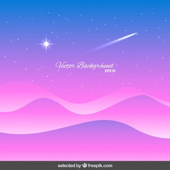 Wavy background with shooting star