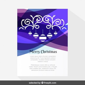 Wavy purple ornamental Christmas card