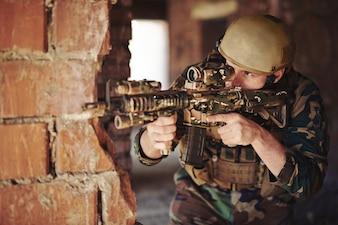 Weapon guard forces danger adult