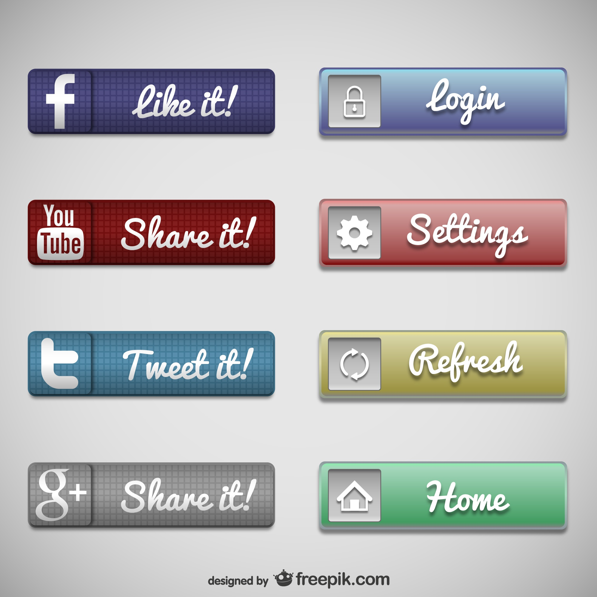 Web buttons social media set