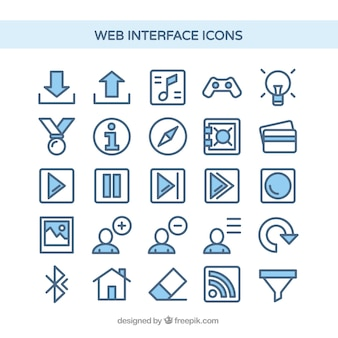 Web interface icons in blue color