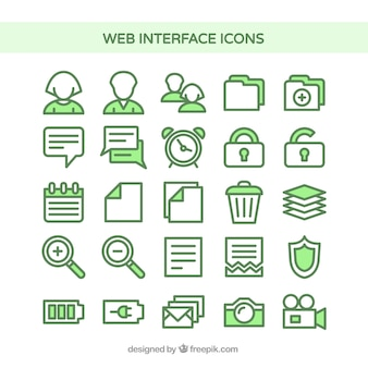Web interface icons in green color