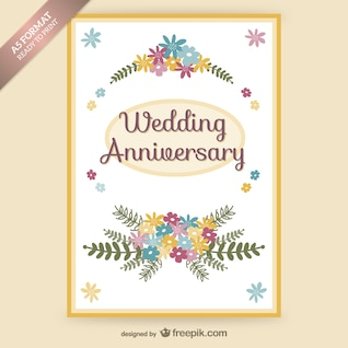 Wedding anniversary floral card