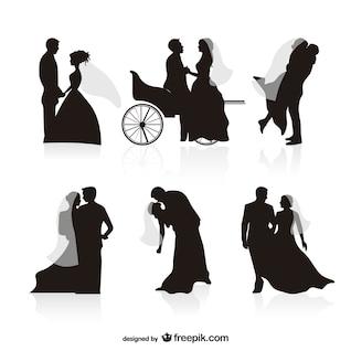 Wedding black silhouettes vectors