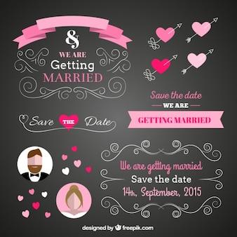 Wedding card in blackboard style
