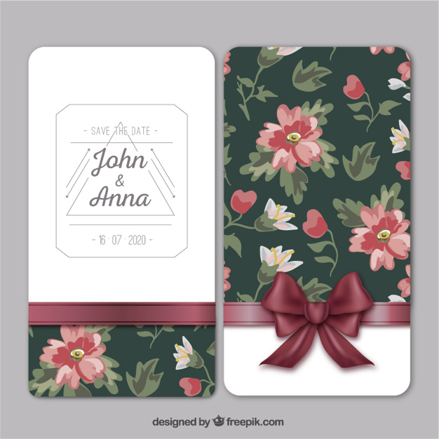 Wedding card with retro flowers