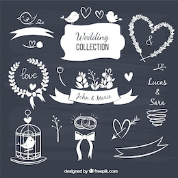 Wedding decorative elements in blackboard style