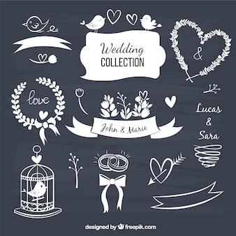 Wedding decorative elements in blackboard style