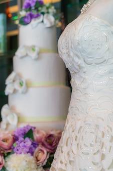 Wedding dresses on mannequins .