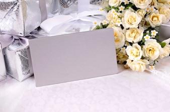 Wedding envelopes over a table