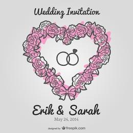 Wedding floral heart vector invitation