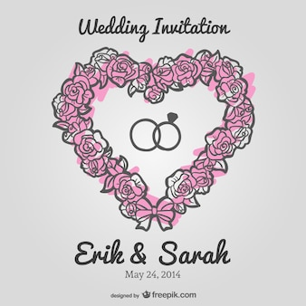 Wedding floral heart vector invitation