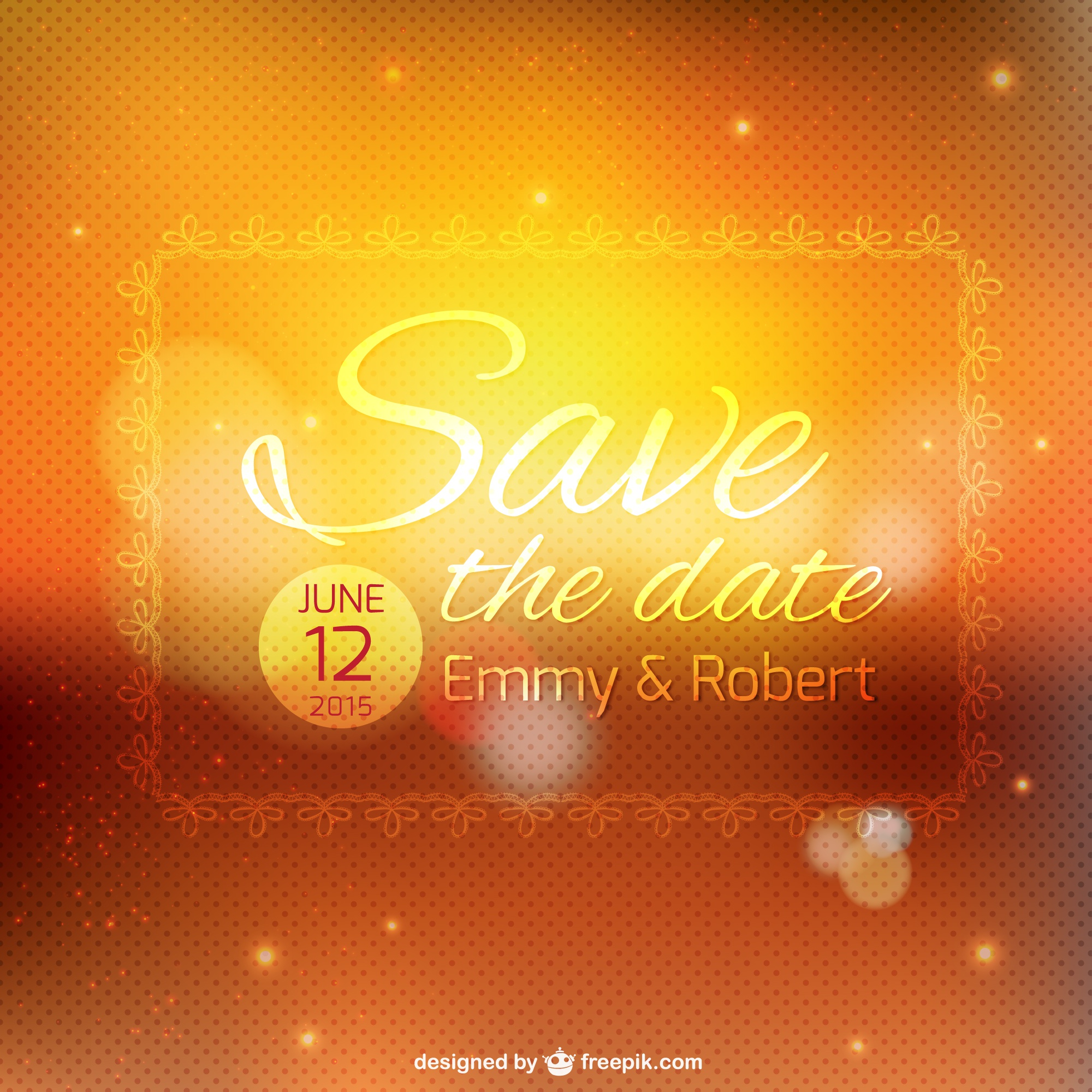 Wedding invitation bokeh template