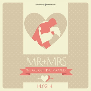 Wedding Invitation Retro Vector