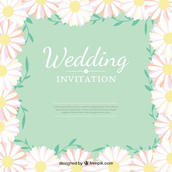 Wedding invitation with daisies