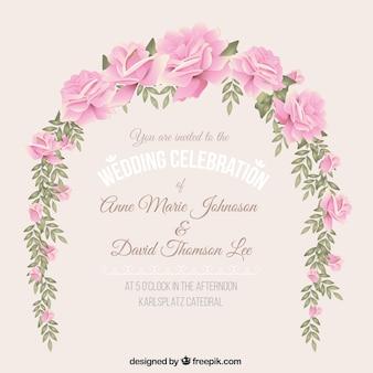 Wedding invitation with floral wreath