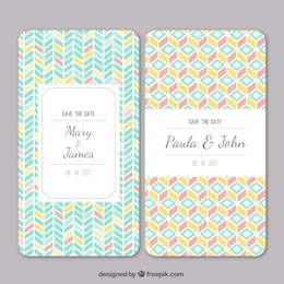 Wedding invitation with geometric pattern