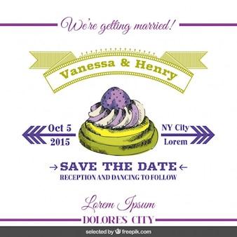 Wedding invitation with hand drawn cake