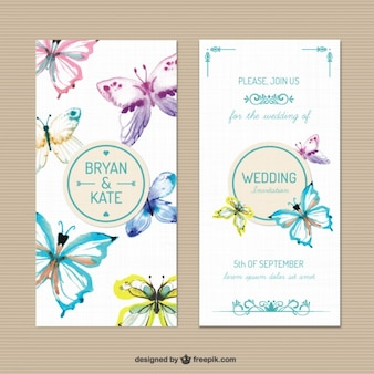 Wedding invitation with hand painted butterflies