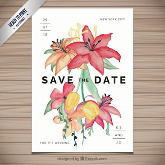 Wedding invitation with hand painted flowers