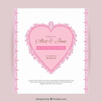 Wedding invitation with ornamental heart