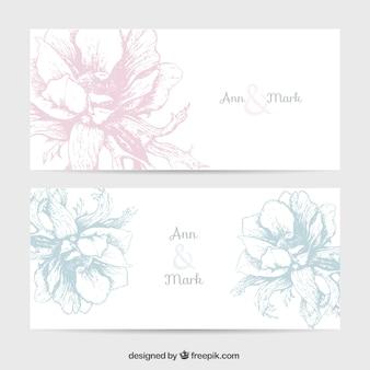 Wedding invitation with retro flowers