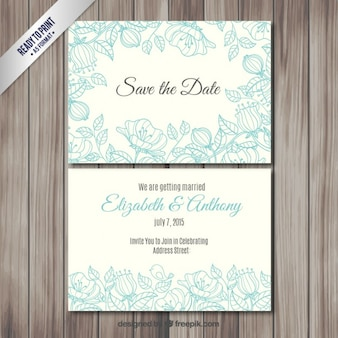 Wedding invitation with sketchy flowers