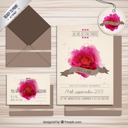 Wedding invitation with watercolor rose