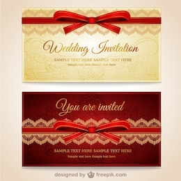 Wedding invitations with red lace