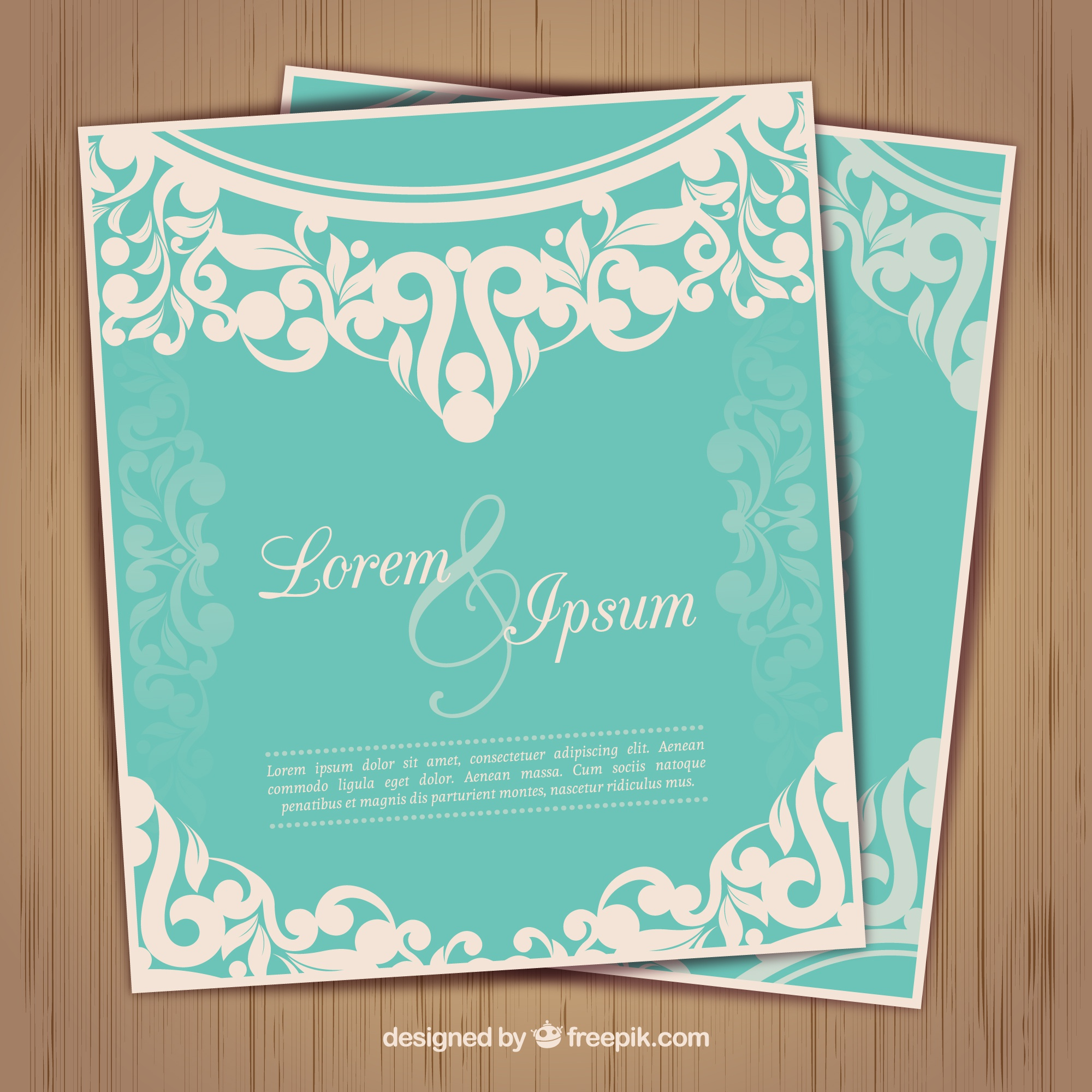 Wedding invtation in ornamental style
