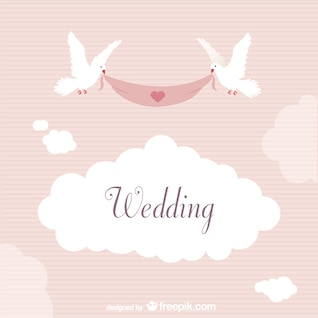 Wedding label with doves