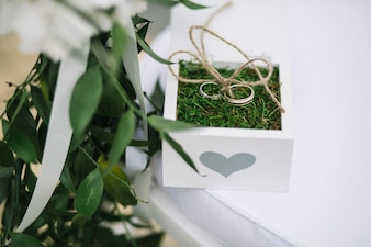 Wedding rings lie on green grass in white box
