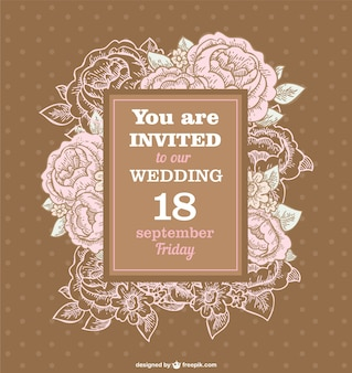 Wedding roses retro invitation