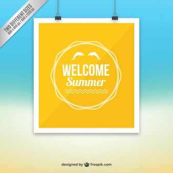 Welcome summer background in yellow color