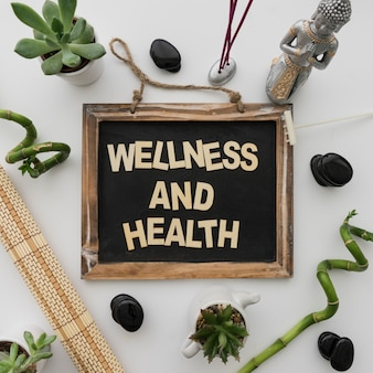 Wellness and health lettering on chalkboard