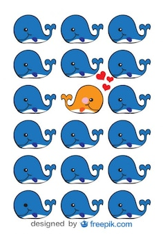 Whale in love - Cute animal vector