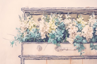 白い芸術の花のキッチンの花