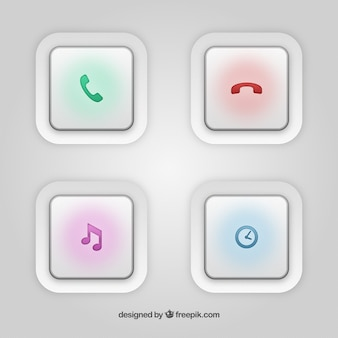 White buttons with colorful icons