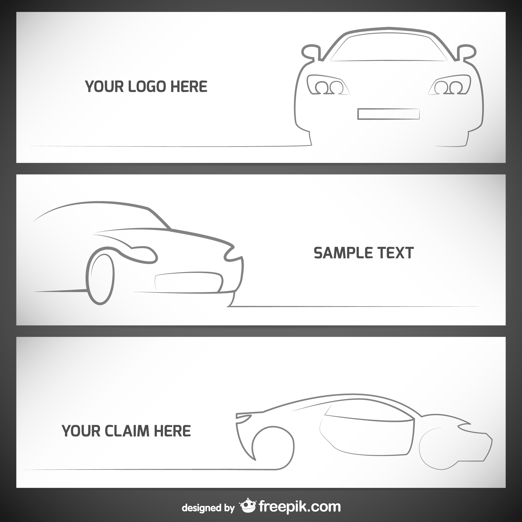 White car banner vectors