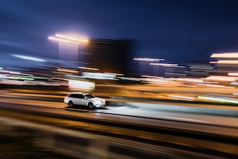 White car blurred on speed motion