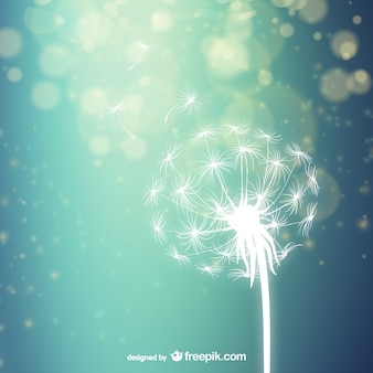 White dandelion silhouette