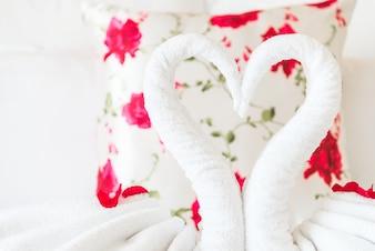 White decorative towels