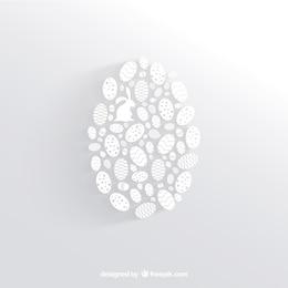 White easter egg made of little egg silhouettes