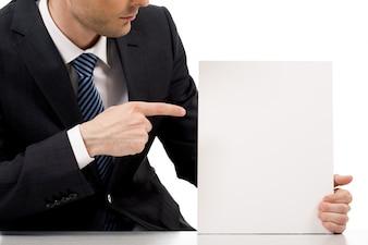 White forefinger corporate paper smart