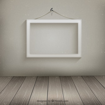 White frame hanging on the wall