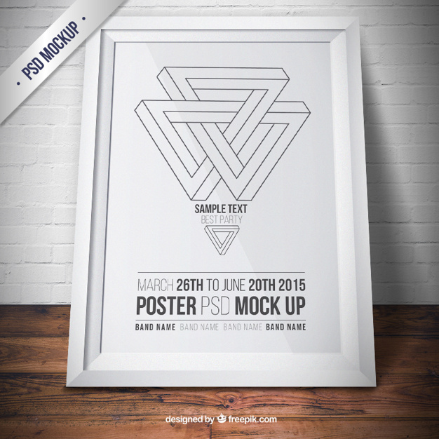 White frame mockup with poster
